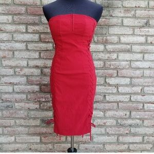 Red side lace up dress